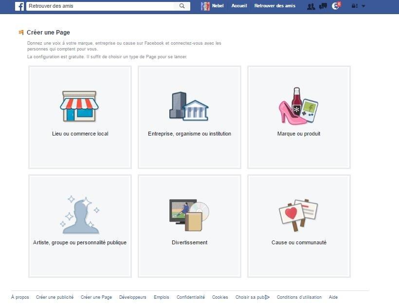 creer une page facebook
