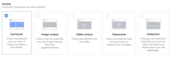 les formats publicitaires de facebook